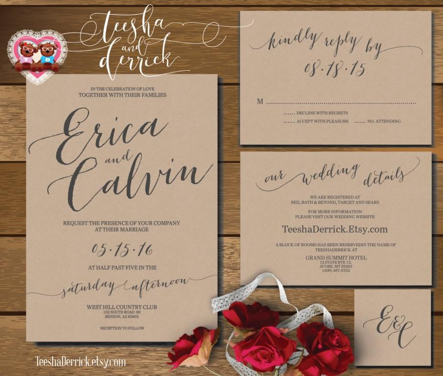 Printable Wedding Invitation Suite (w0360), Consists Of Invitation ...