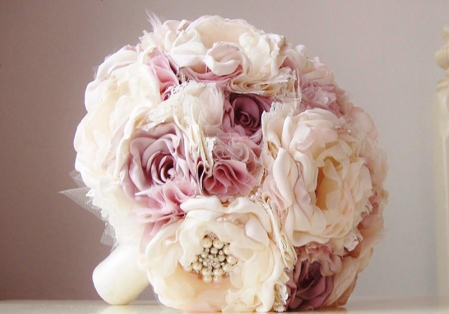 Mariage - SALE - Ready to Ship, Fabric Brooch Bouquet, Vintage Wedding, Fabric Flower Bouquet, Mauve, Dusty Mauve, Ivory, Off White