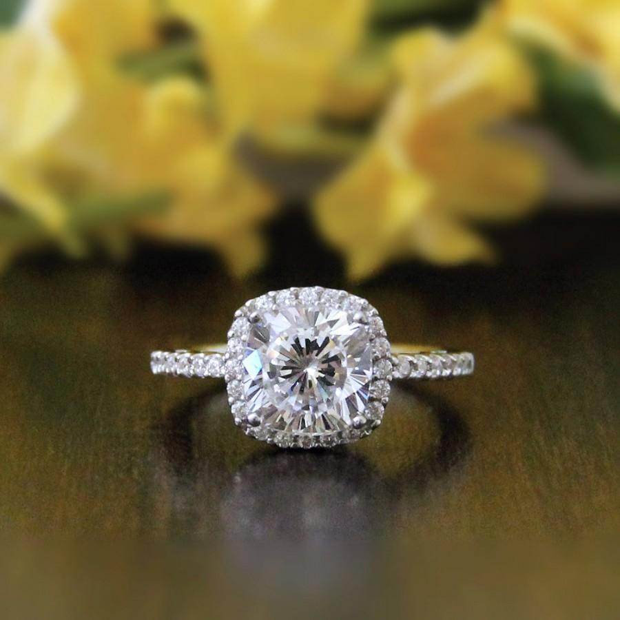 Mariage - 2.40 ct Art Deco Halo Engagement Ring-Cushion Cut Diamond Simulants-Cubic Zirconia-Anniversary Ring-Bridal Ring-925 Sterling Silver-R36751