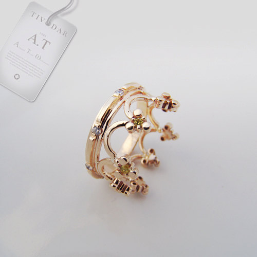 Mariage - Crown - Byzantine silver crown (pink gold-plated) , Crown ring, crown, Byzantine style,  gold crown ring