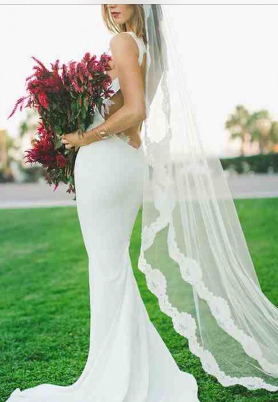 Wedding - Wedding Veil, Mantilla Veil, Alencon Lace Veil, Bridal Veil, Waltz or Cathedral Length Veil, Spanish Veil- SHAYLA'S ROSE MANTILLA