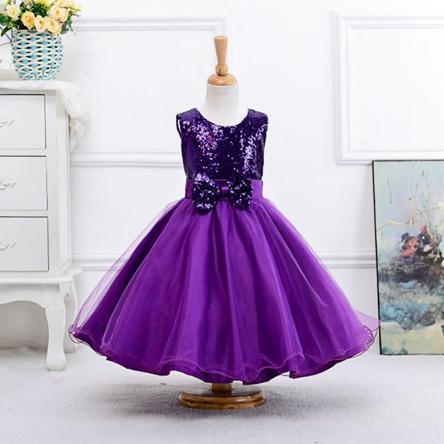 5b2411db0d1f Cute tea length sequin flower girl dresses,little girl princess dress,baby  girl's dress,tutu,purple sequin flower girl dress