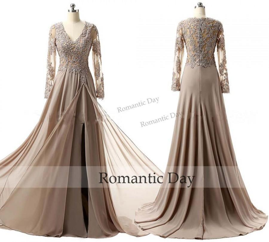 Champagne Evening Dresses Long Sleeve V Neck Prom Gowns High Slit ...