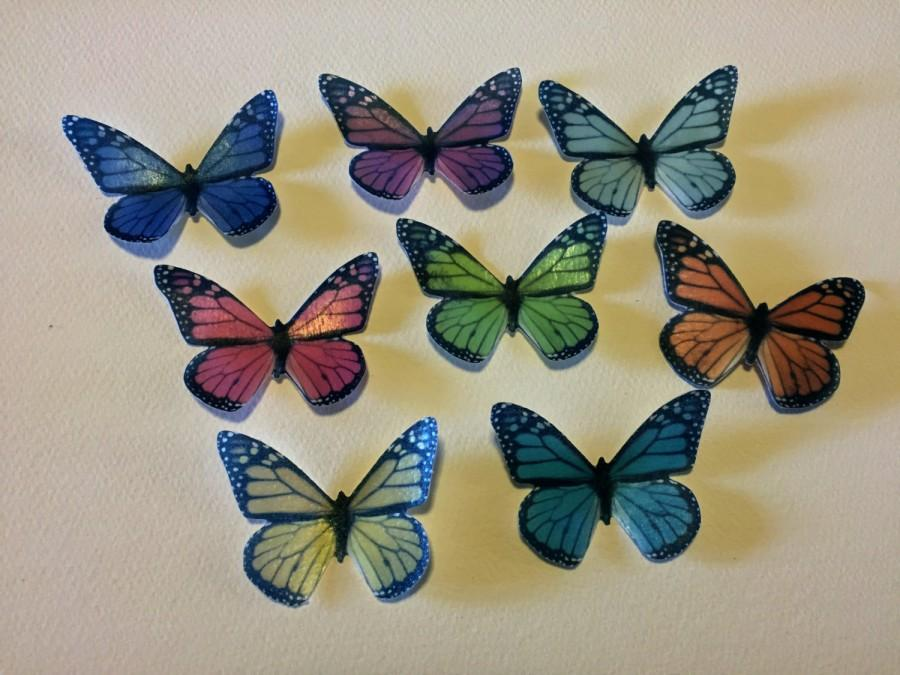 Hochzeit - Double-Sided Edible 3-D Wafer Paper Large Monarch Butterflies for Cakes, Cupcakes or Cookies