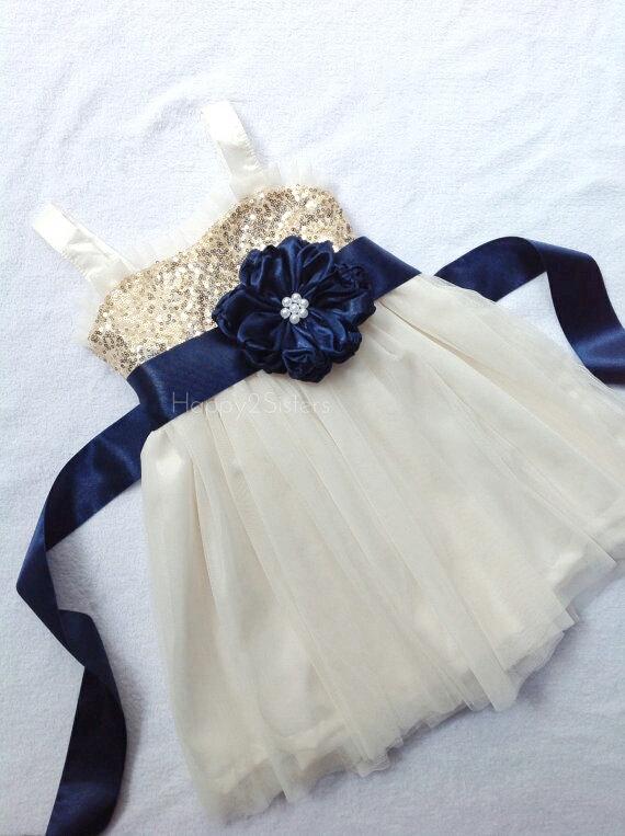 Wedding - Gold sequin flower girl dress, Navy blue flower girl, Gold and ivory flower girl dress, flower girl dress tulle, Flower girl dress navy blue