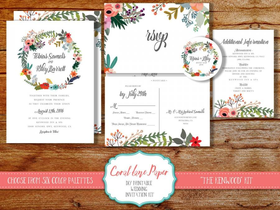 Boho Wedding Invitation, Wreath Wedding Invitation, Rustic Wedding  Invitation, Spring Wedding Wedding Invitation, Printable Wedding Invite