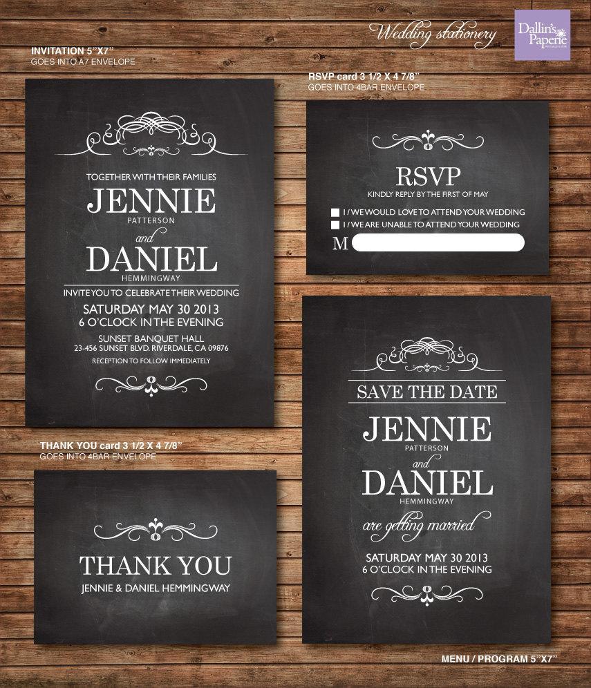 Wedding Invitation Printables, Chalkboard Invitation, Customized Wedding  Invitation, RSVP, Thank You Card, Save The Date, Modern Wedding