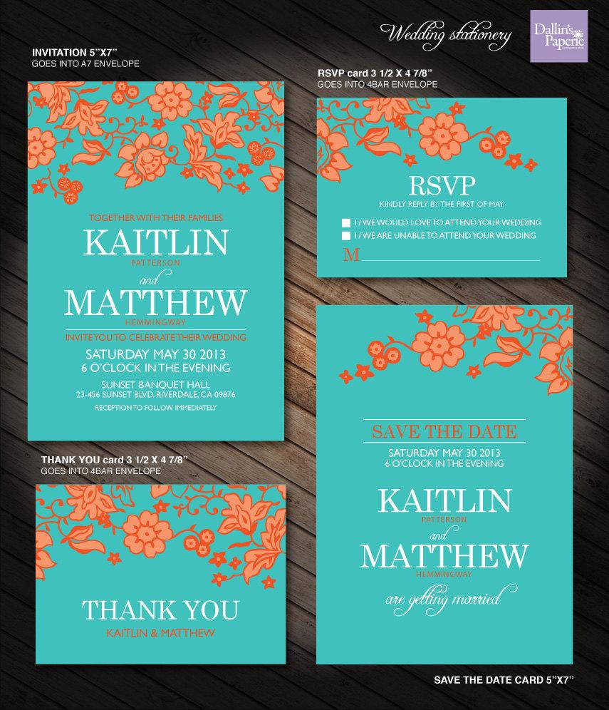 Orange Flower Wedding Printables