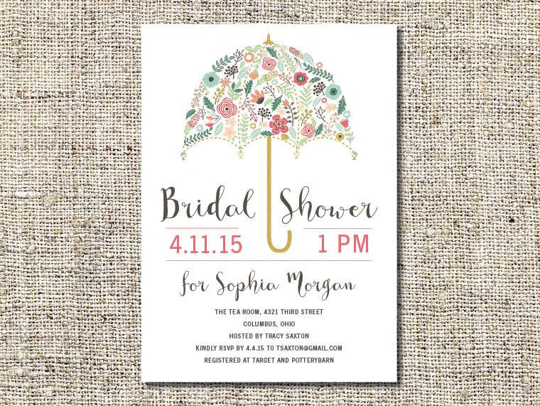 flower umbrella bridal shower invitation printable bridal shower invitation customized bridal shower invitation 5x7 invite bsi3