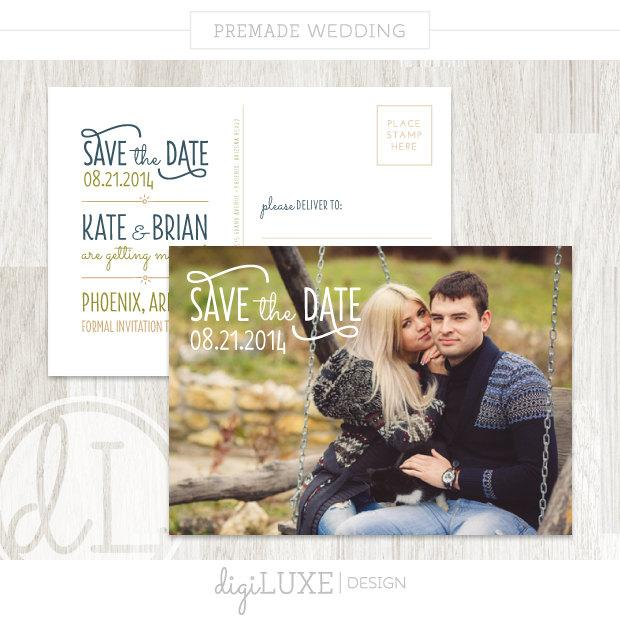 Wedding - INSTANT DOWNLOAD WEDDING Kate & Brian - Save the Date postcard, Photocard, Template, Text Overlay, Watermark, Couple, Navy, Script