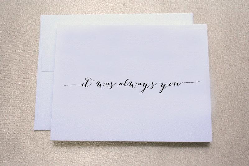 زفاف - It was always you Wedding Day Card for Groom / Wedding Day Card for Husband  / Tree Free, 100% Cotton Cardstock