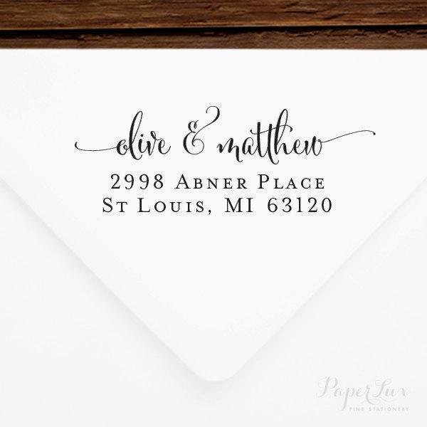 زفاف - Return Address Stamp #47 - Wooden or Self-Inking - Personalized - Gift, Wedding, Newlywed, Housewarming - INCLUDES HANDLE