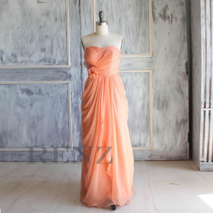 2017 Tangerine C Wedding Dress Chiffon Party Bridesmaid Strapless Formal Rosette Prom Pleated A016
