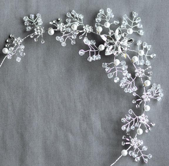 Mariage - SALE Bridal Headpiece Tiara Headband Rhinestone and Pearl Hair Comb Accessory Wedding Jewelry Crystal Flower Side Tiara CM064LX