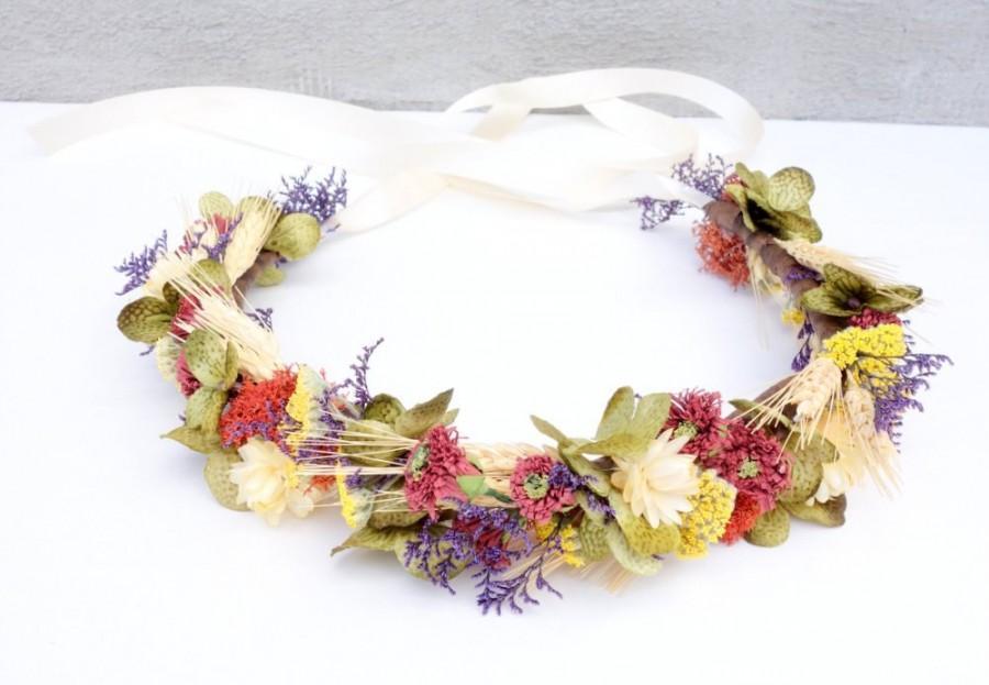 Mariage - Dried Flower Crown-Boho Wedding-Bridal Flower Crown-Headdress-Wedding Flower Crown-Head Wreath-Maternity Photo Shoot-OLIVIA