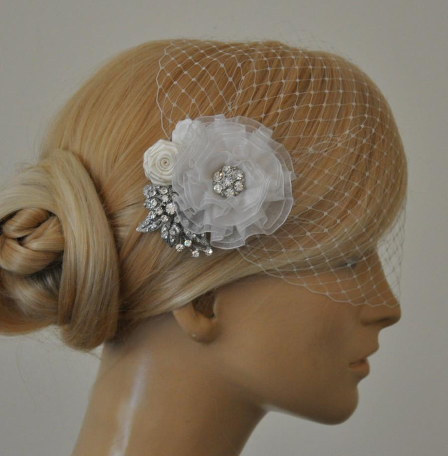 Wedding - Birdcage Veil (Bandeau style) set with hair  Fascinator (2 Items) , Hair Accessory,wedding veil, Bridal hair piece ,wedding hair piece,