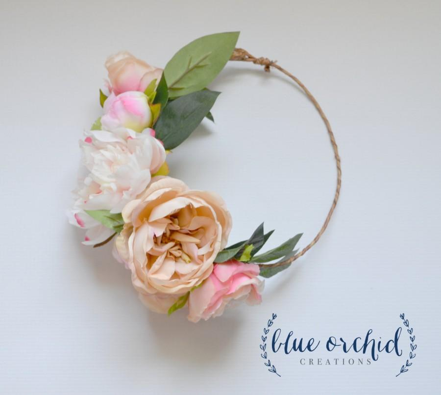 Свадьба - Peony Flower Crown, Boho Wedding, Garden Roses, Blush Flower Crown, Floral Crown, Flower Head Piece, Flower Hair Accessory, Wedding Crown