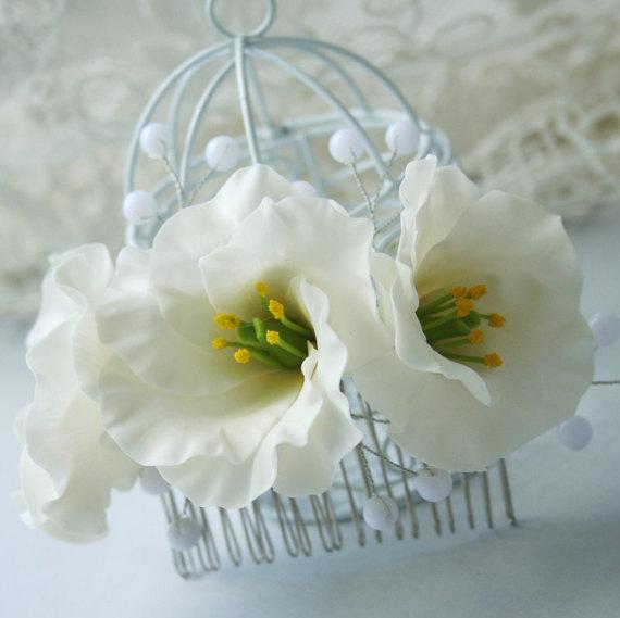 Mariage - Eustoma flower comb - bridal hair accessories - bridal flower comb - wedding headpiece - wedding flower comb - white bridal flowers
