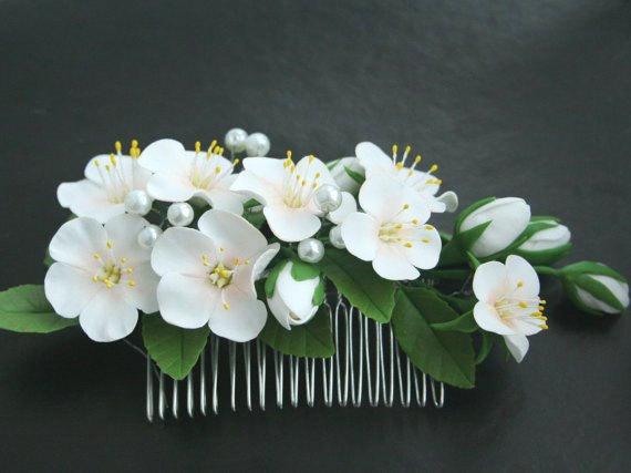 Wedding - Bridal hair comb, Wedding flower comb, Bridal flower comb, Bridal hair accessories, Flower comb, Flower hair accessory, apple blossom