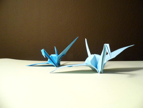 Origami paper wedding crane blue tone wedding crane for 1000 paper cranes wedding decoration