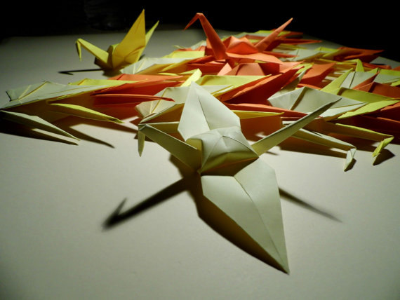 Origami paper wedding crane 3 shade yellow wedding crane for 1000 paper cranes wedding decoration