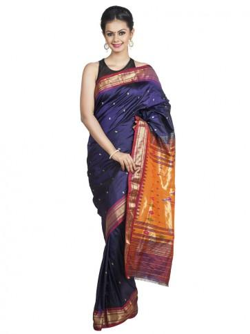 Wedding - Midnight Blue Paithani with Rust Red Borders