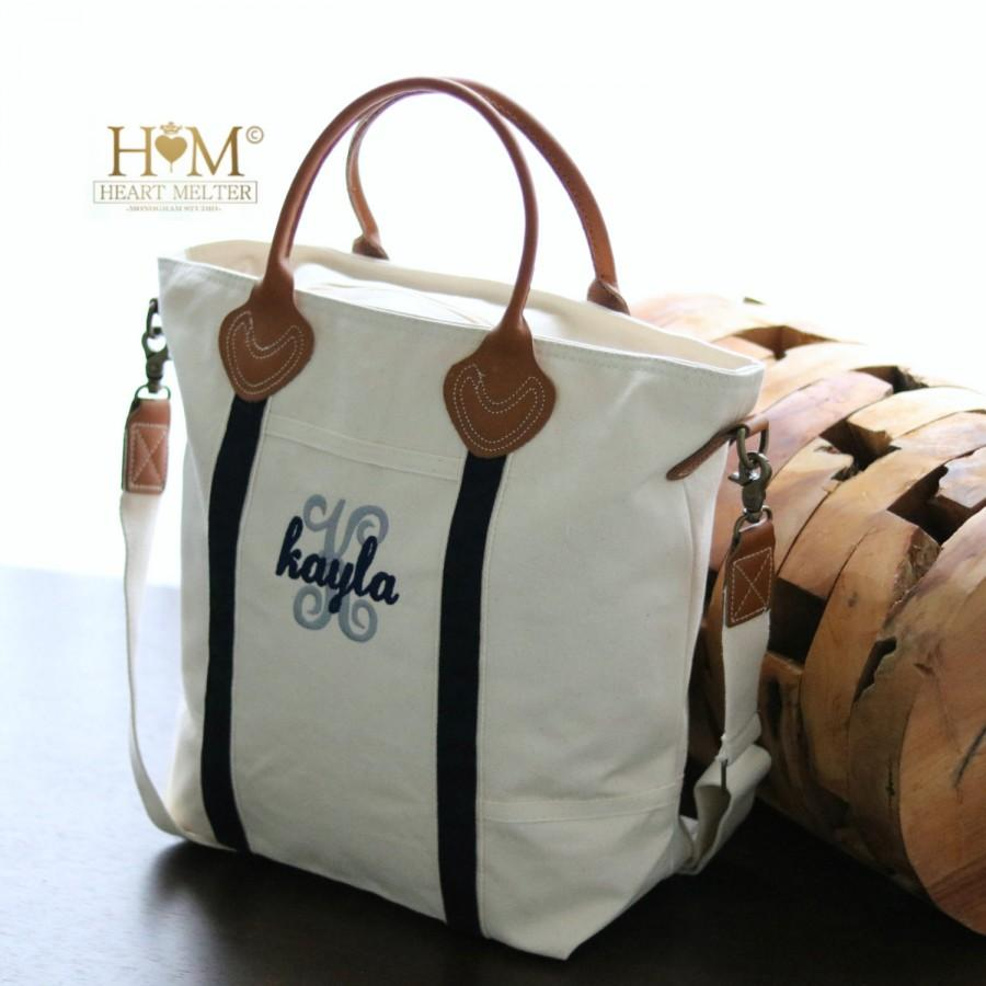 Monogrammed Navy Travel Tote - Carry On Canvas Bag - Monogrammed ...