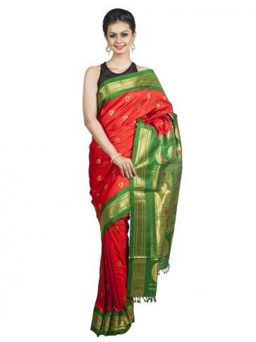 زفاف - Vermillion Green Paithani with Green Borders