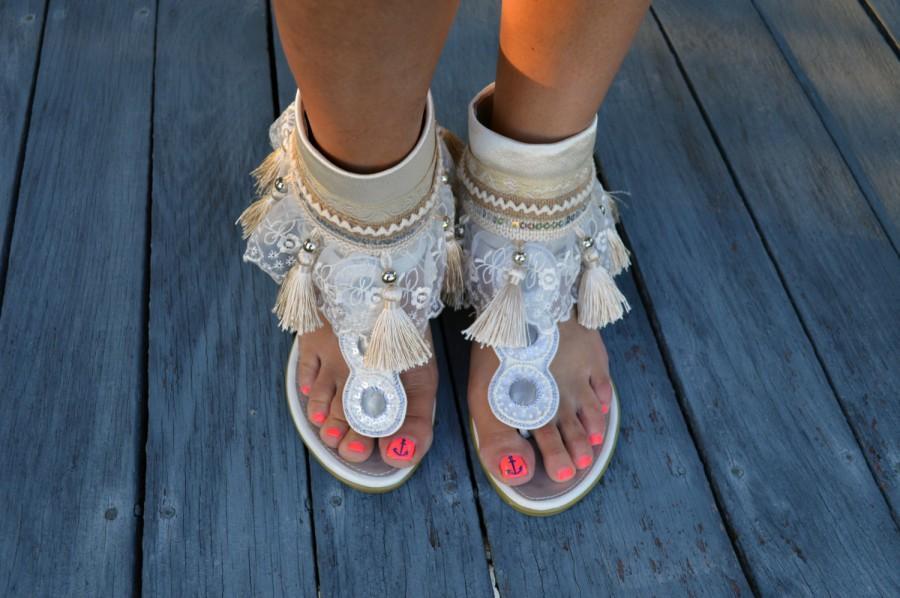 Ivory Wedding Shoe Sashes Sash Boot Boho Chic Womens Sandal Accessories