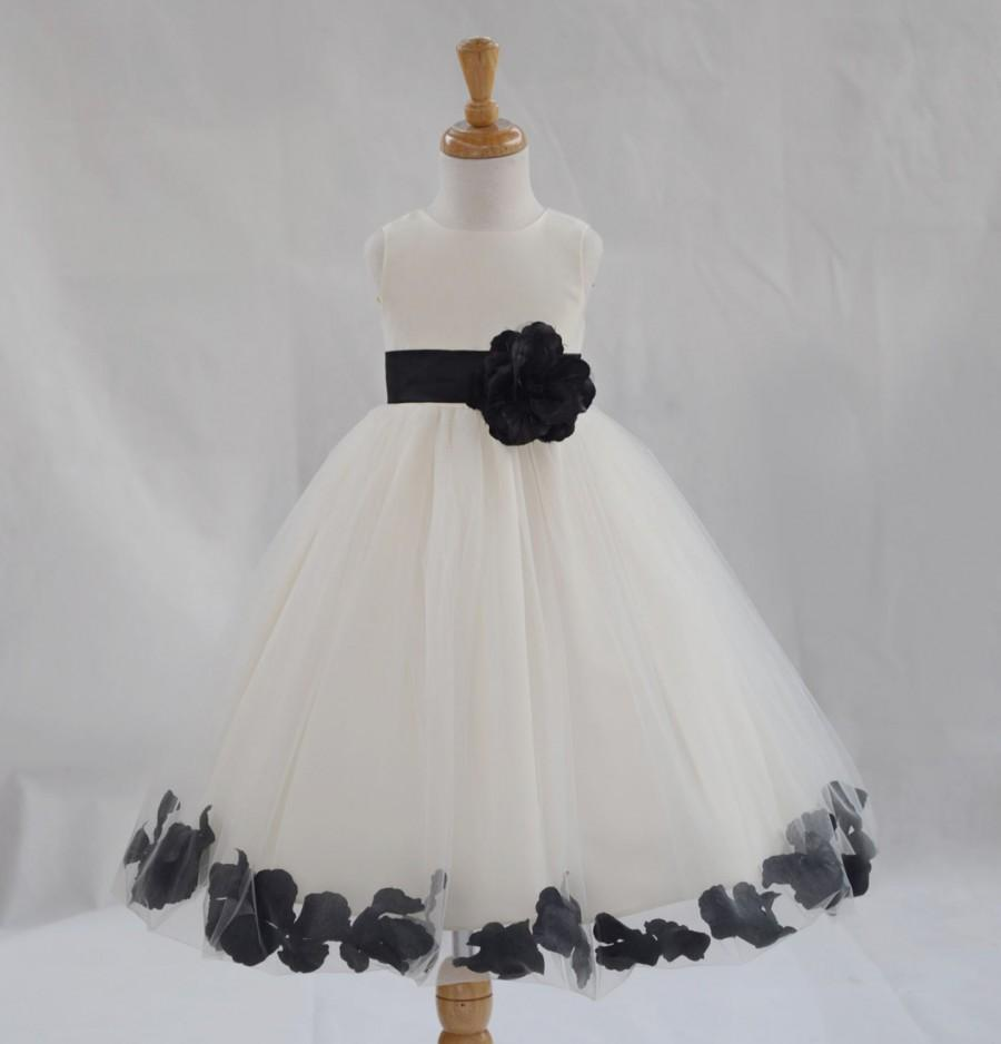 Hochzeit - Ivory / Black (pictured) Flower Girl Dress pageant wedding bridal children bridesmaid toddler elegant sizes 6-9m 12m 2 4 6 8 10 12 14