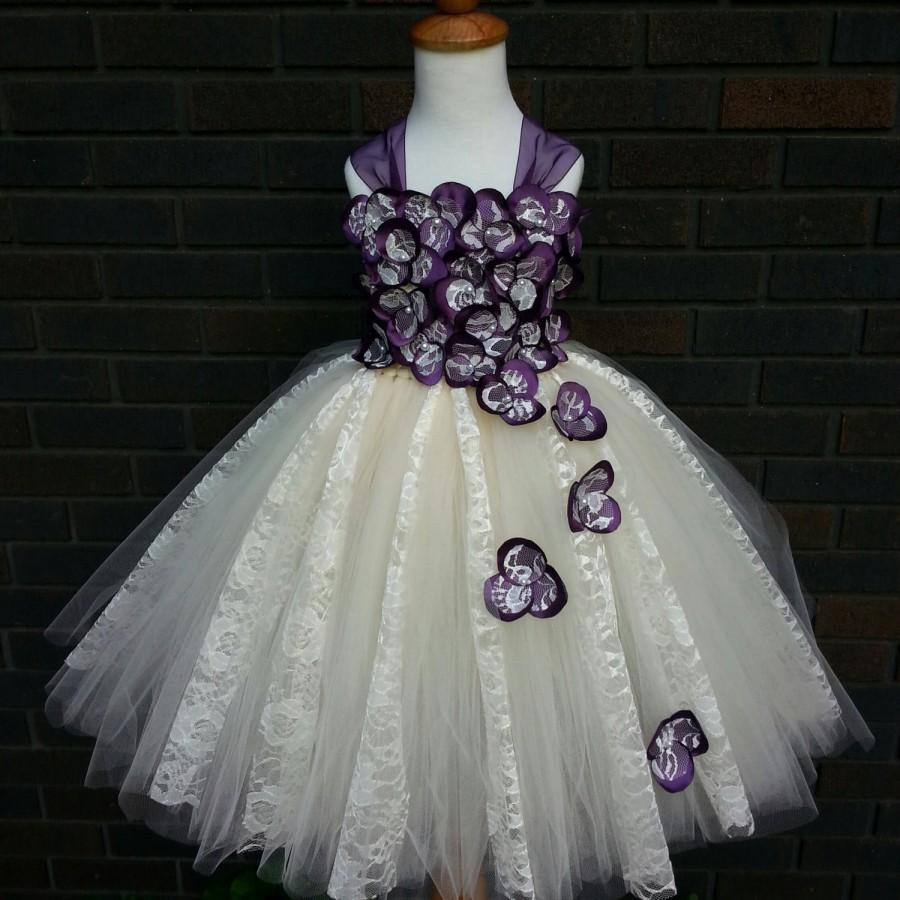Mariage - Plum & Ivory lace flower girl dress/ Junior bridesmaids dress/ Flower girl pixie tutu dress (many other colors available)
