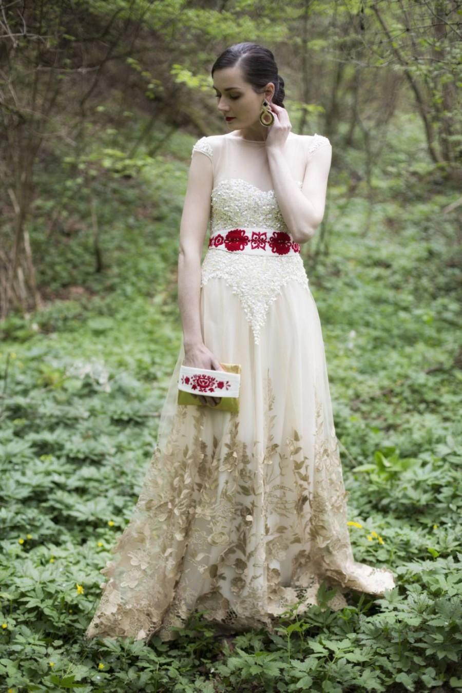 Mariage - Vanille sequins dress with golden lace