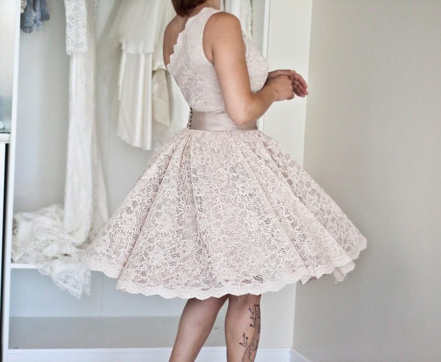 Mariage - One Shoulder Lace Dress, Bridesmaid Lace Dress, Boho Bridesmaid Dresses, Short lace dress