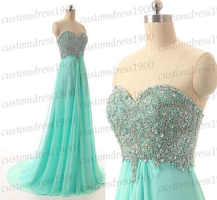 Wedding - Mint bridesmaid dress,sweetheart bridesmaid dress,handmade beading chiffon mint wedding party dress,long prom dress