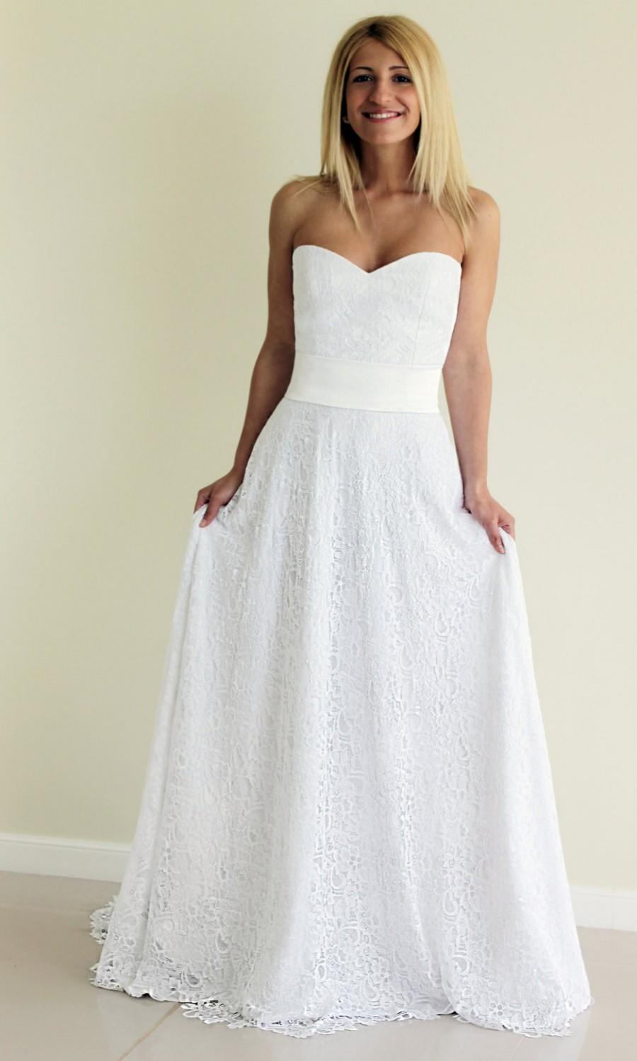 SAMPLE SALE! White Lace Gown, Sweetheart Neckline, A-line Skirt ...