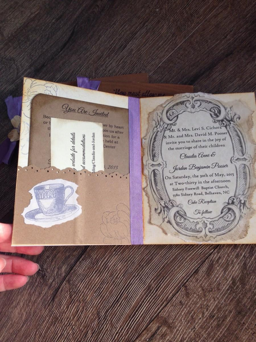 "Hochzeit - Rustic Purple Wedding Invitation Sample- Purple wedding invitation-Jane Austen Wedding-Vintage invitation-""Jane"""