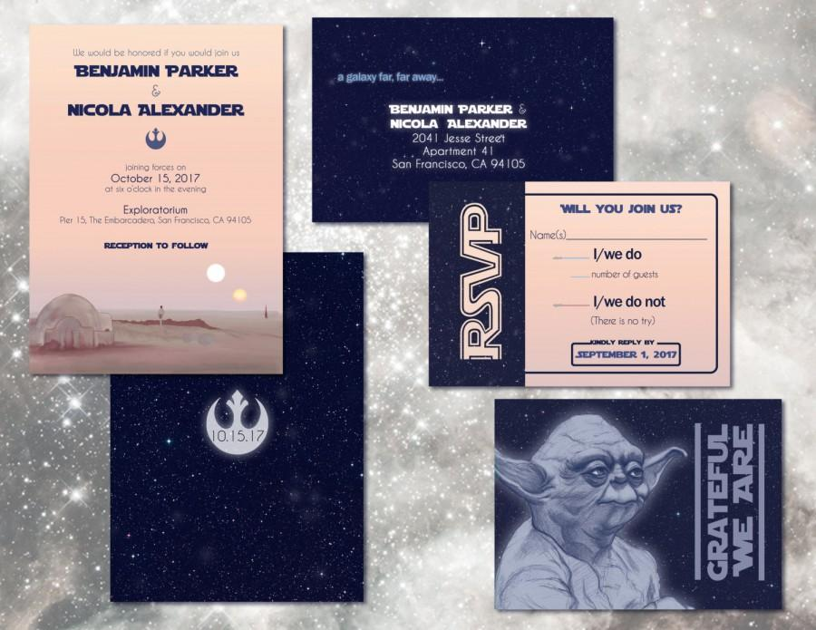 Star Wars Wedding Invitation Set Custom Digital Invitations