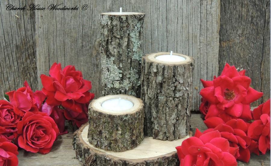 Свадьба - Tree Branch Candle Holders, Set of 3, Rustic wood candle holders, Wooden candle holders, tree bark candle holders