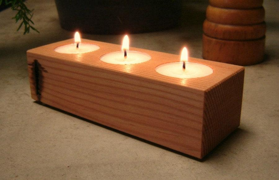 Свадьба - Wood Candle Holder, Tea Light Candle Holder, Home Decor, Cottage Style