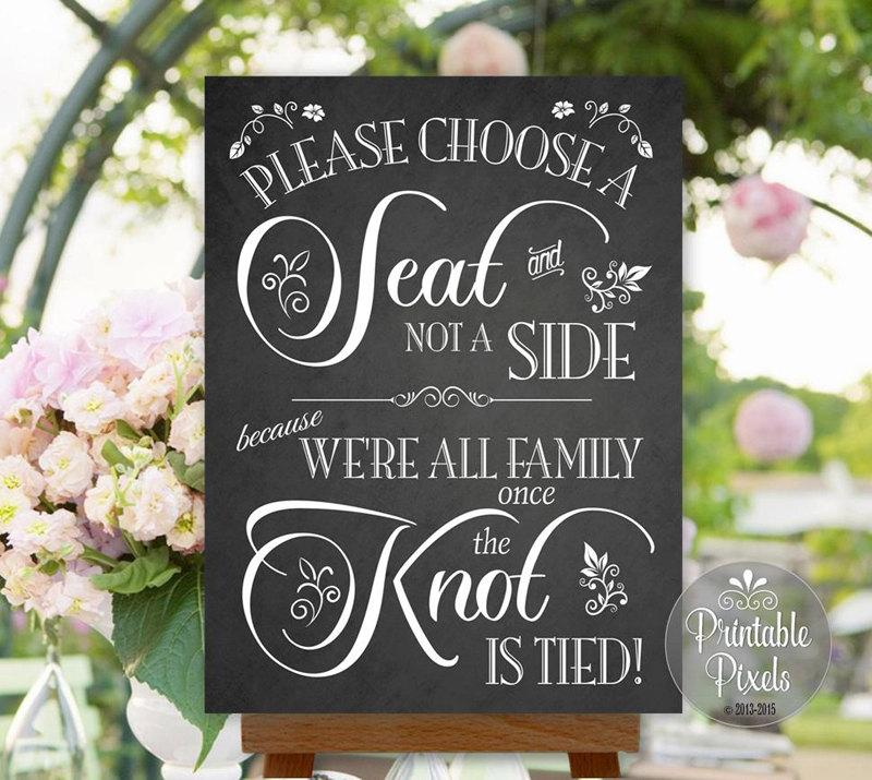 Choose A Seat Not Side Wedding Sign Chalkboard Printable No Seating Plan Instant Nsp6c
