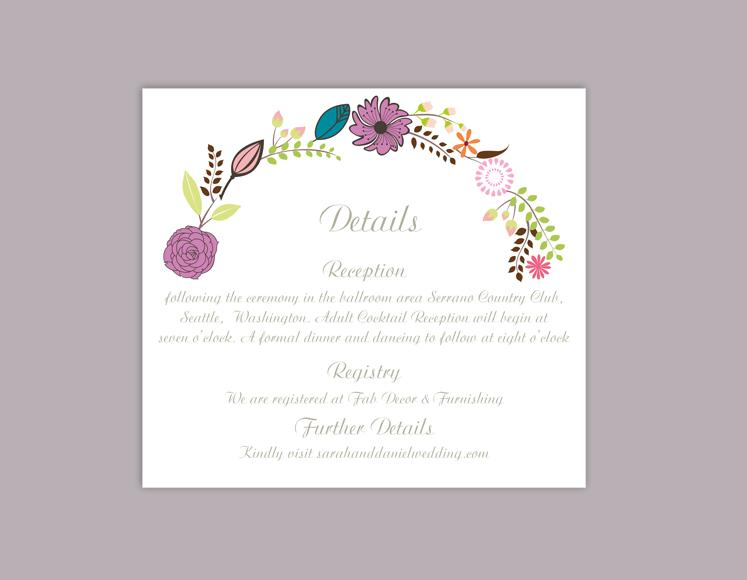 زفاف - DIY Wedding Details Card Template Editable Word File Download Printable Details Card Floral Purple Details Card Elegant Enclosure Cards