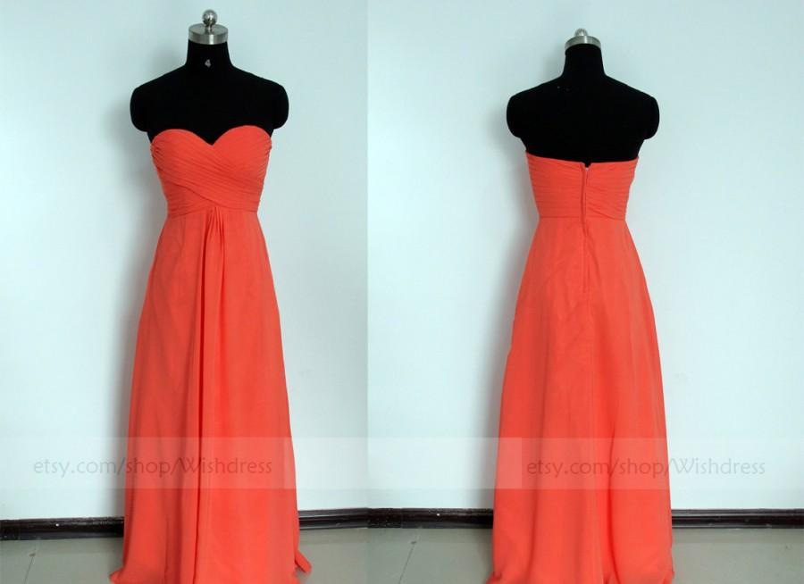 Wedding - Strapless Sweetheart Orange Red Bridesmaid Dress/ Long Bridesmaid Dress/ Bridal Party Dress/ Long Mismatch Bridesmaid  Dress/ Prom Dress