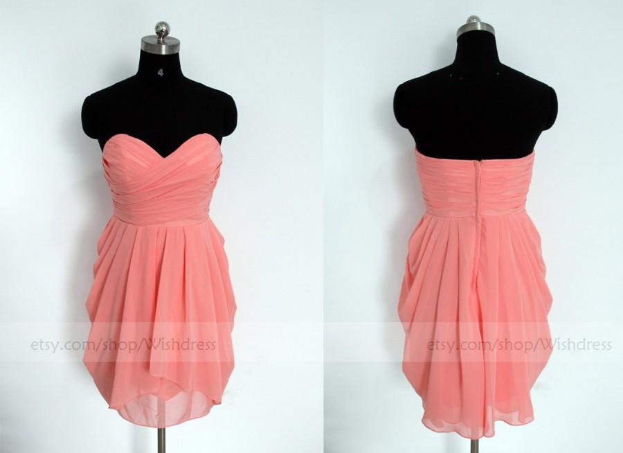 Свадьба - Coral Short Bridesmaid Dress/Short Bridesmaid Dress/Mismatch Bridesmaid Dress/Short Prom Dress/ Homecoming Dress/ Bridal Party dress/Party