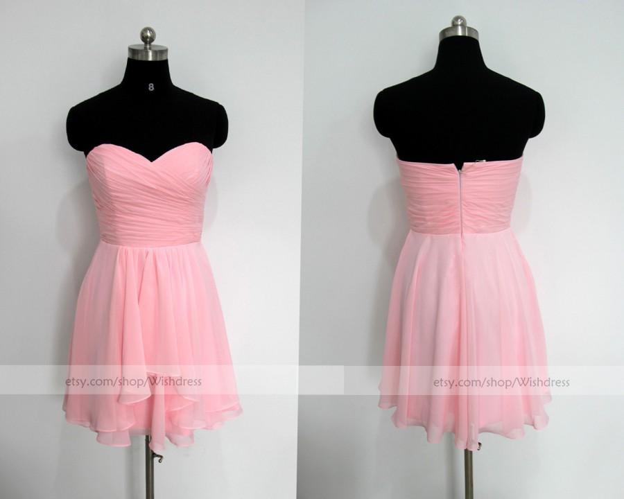 Wedding - Handmade Sweetheart Pink Chiffon Knee Length Bridesmaid Dress / Pink Homecoming Dress/ Wedding Party Dress / Short Prom Dress wishdress