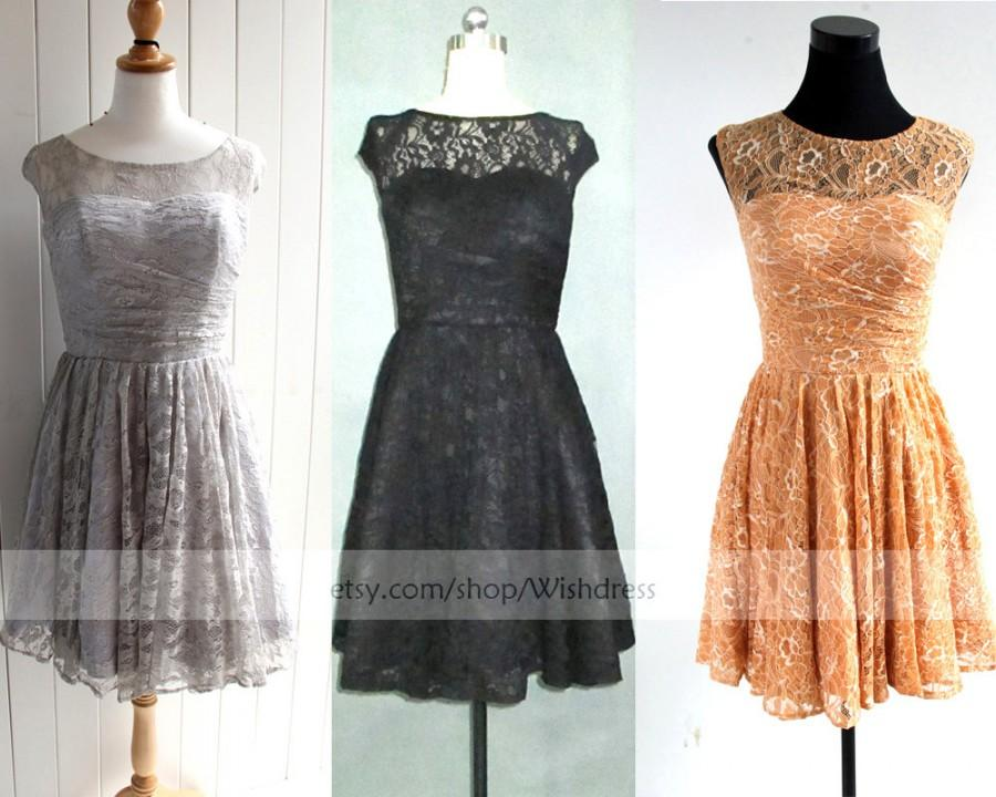 98c9a57061 Orange  Silver  Black Lace Short Bridesmaid Dress  Cocktail Dress Short  Prom Dress  Formal Dress  Homecoming Dress  Bridal Party dress