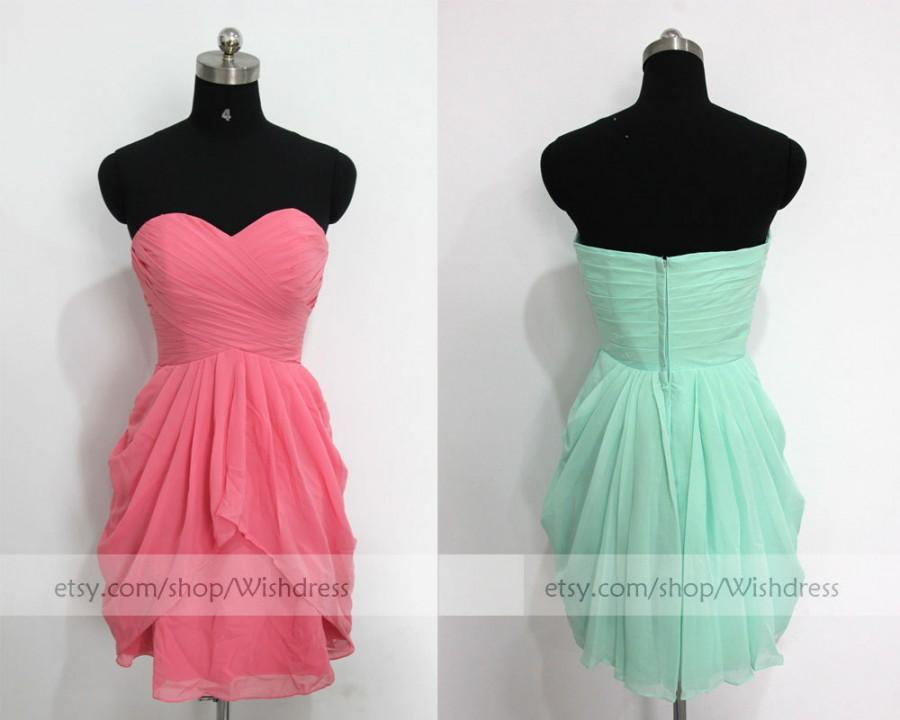 Mariage - Coral Knee Length Short Bridesmaid Dress/Bridesmaid Dress/Mismatch Bridesmaid Dress/Short Prom Dress/ Homecoming Dress/ Bridal Party dress