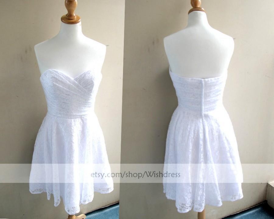Mariage - Handmade Sweetheart Lace Short Bridesmaid Dress/ Cocktail Dress/ Wedding Party Dress/ Short Prom Dress/ Formal Dress/ Homecoming Dress