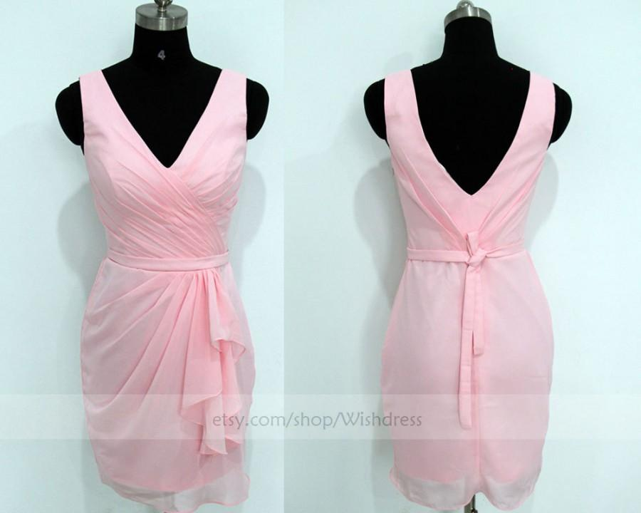 زفاف - Handmade V-neck Ruching Bodice Pink Bridesmaid Dress/ Cocktail Dress/ Wedding Party Dress/ Short Prom Dress/ Homecoming Dress/Prom Dress