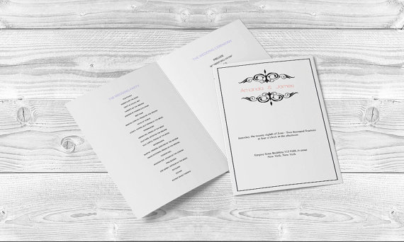 Wedding Program Templates Editable PDF 8 5 X 11 Printable Black