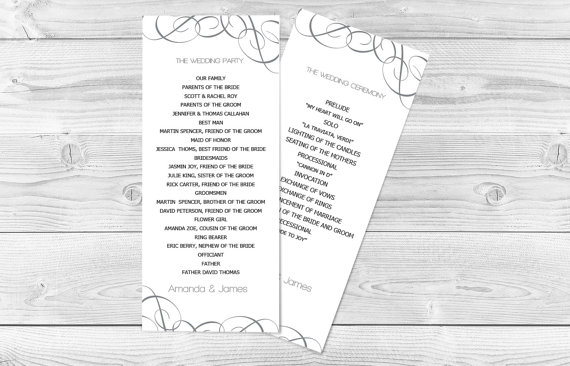 DIY Wedding Program Template Grey Swirls Tea Length Printable - Easy wedding program template